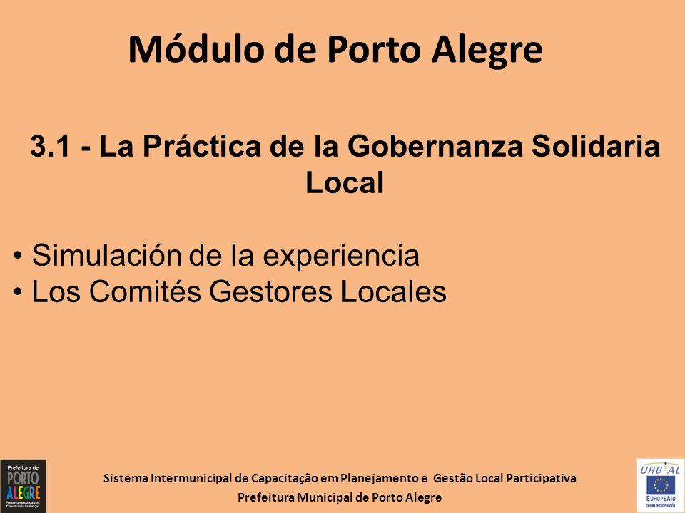 Sistema Intermunicipal de Capacitação em Planejamento e Gestão Local Participativa Prefeitura Municipal de Porto Alegre Módulo de Porto Alegre 3.1 - L
