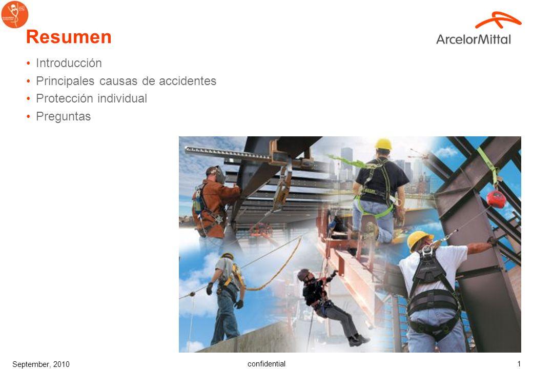 confidential September, 2010 11 Predicción de peligros o riesgos Ejemplo: ¿Cómo llegar al área de trabajo.