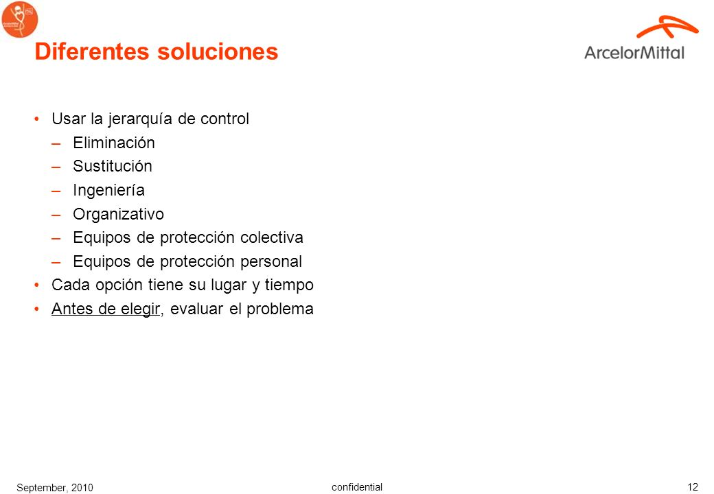 confidential September, 2010 11 Predicción de peligros o riesgos Ejemplo: ¿Cómo llegar al área de trabajo? ¿Qué peligros hay bajo el área de trabajo?