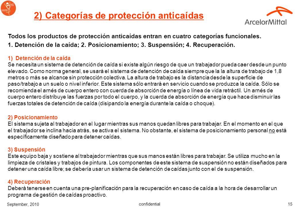 confidential September, 2010 14 1) Arnés de seguridad de cuerpo entero Existen diferentes modelos de ARNÉS DE SEGURIDAD DE CUERPO ENTERO con varias op