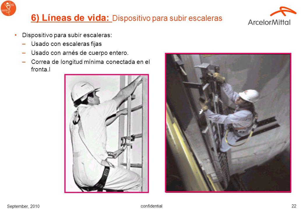 confidential September, 2010 21 Fuerza máxima de detención –Fuerza sobre un cuerpo causada al detener una caída –Máximo es 8 kN por ley de USA –Máximo