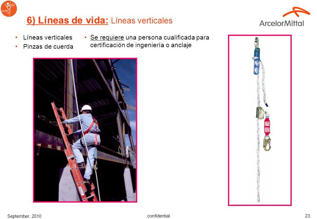 confidential September, 2010 22 Dispositivo para subir escaleras: –Usado con escaleras fijas –Usado con arnés de cuerpo entero. –Correa de longitud mí