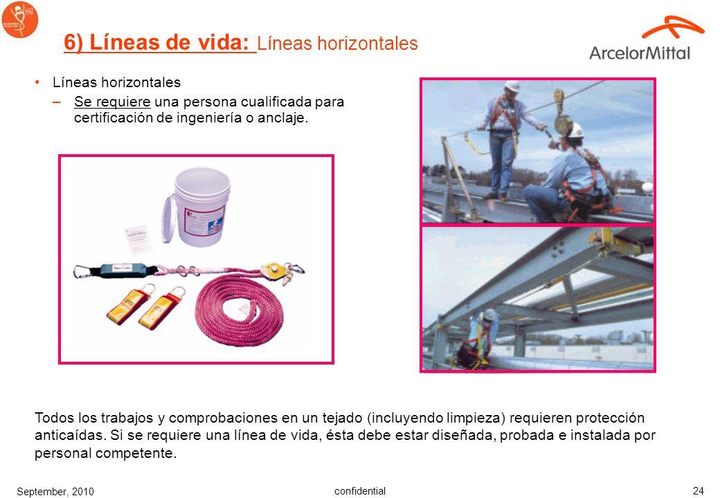confidential September, 2010 23 Líneas verticales Pinzas de cuerda 6) Líneas de vida: Líneas verticales Se requiere una persona cualificada para certi
