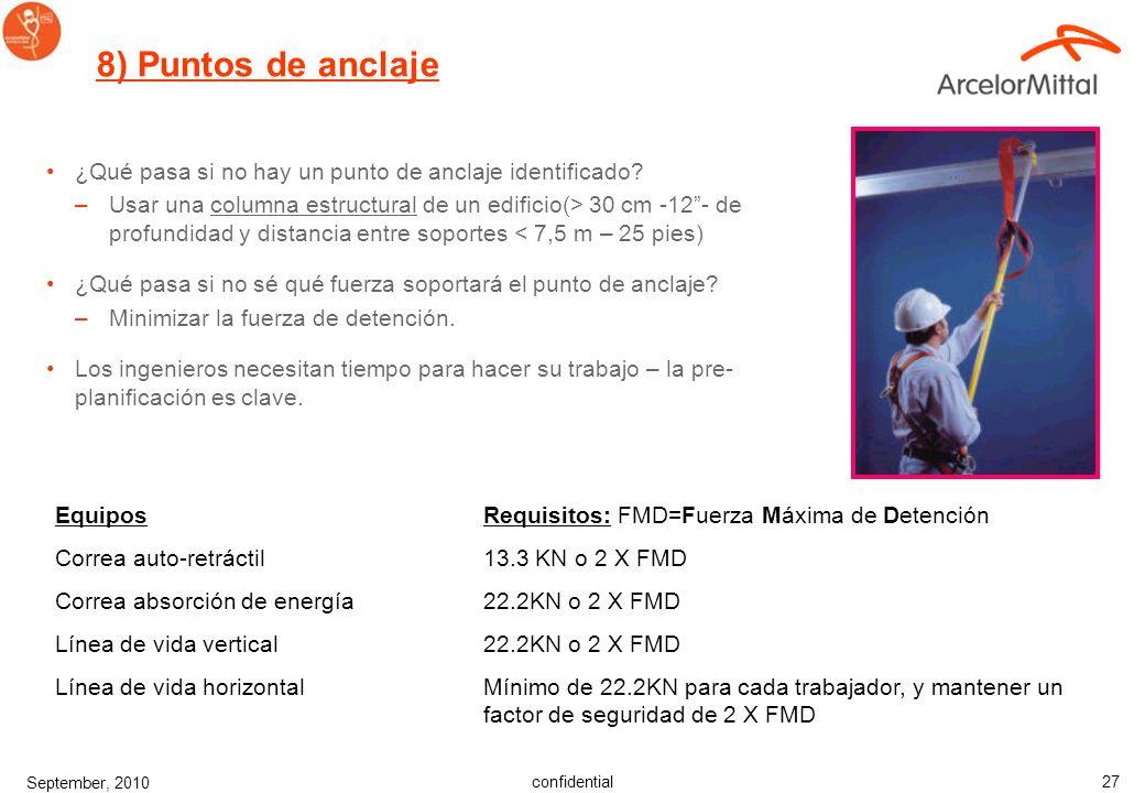confidential September, 2010 26 Características: –Cumplen los requisitos de fuerza. –Identificados. –Disponibles para trabajos rutinarios. –Fáciles de