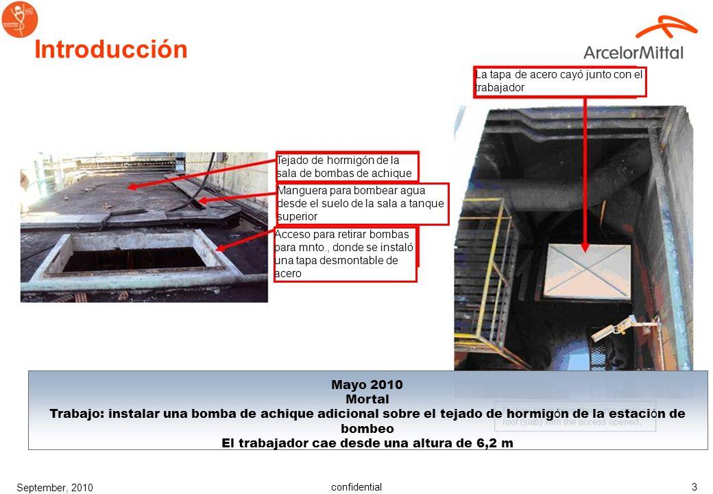confidential September, 2010 2 Introducción Febrero 2010 Mortal Trabajo: retirada de nieve del tejado de la nave de trenes de acabado La víctima cae d