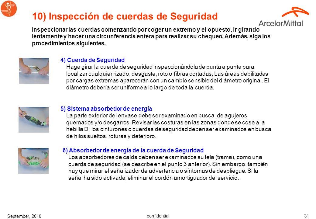 confidential September, 2010 30 10) Inspección de correas Al inspeccionar correas, empezar por un extremo e ir hasta el otro, girando lentamente la co