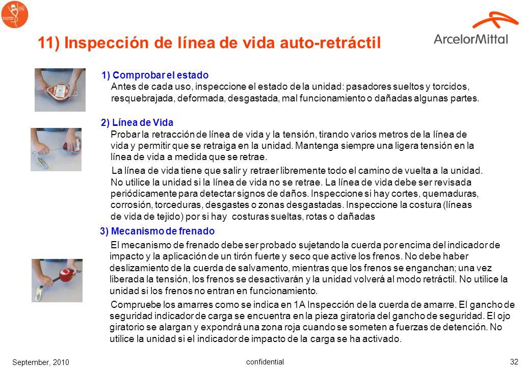 confidential September, 2010 31 10) Inspección de cuerdas de Seguridad Inspeccionar las cuerdas comenzando por coger un extremo y el opuesto, ir giran
