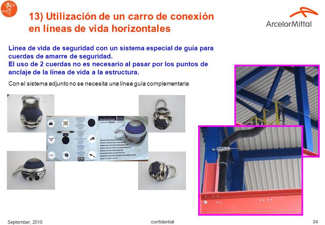 confidential September, 2010 33 12) Limpieza de arneses y cuerdas de amarre Los cuidados básicos de todo el equipo de seguridad prolongará la vida de