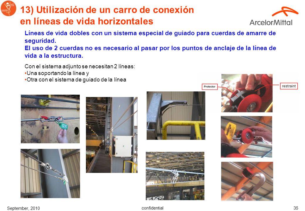confidential September, 2010 34 13) Utilización de un carro de conexión en líneas de vida horizontales Línea de vida de seguridad con un sistema espec
