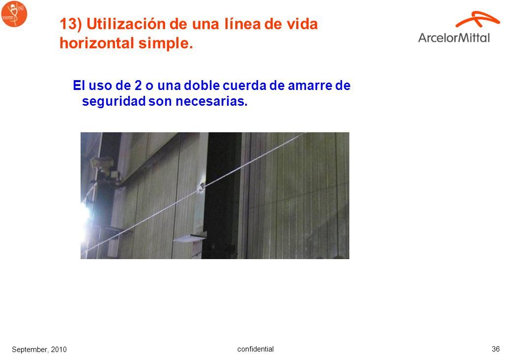 confidential September, 2010 35 Líneas de vida dobles con un sistema especial de guiado para cuerdas de amarre de seguridad. El uso de 2 cuerdas no es