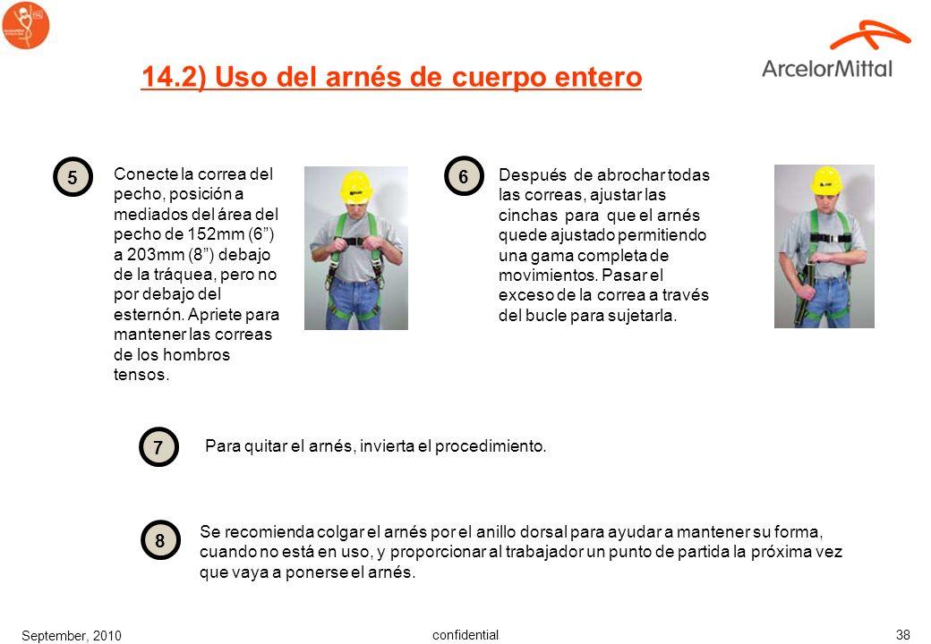 confidential September, 2010 37 14) Uso del arnés de cuerpo entero Los arneses de cuerpo entero son el único sistema a utilizar para la protección / d