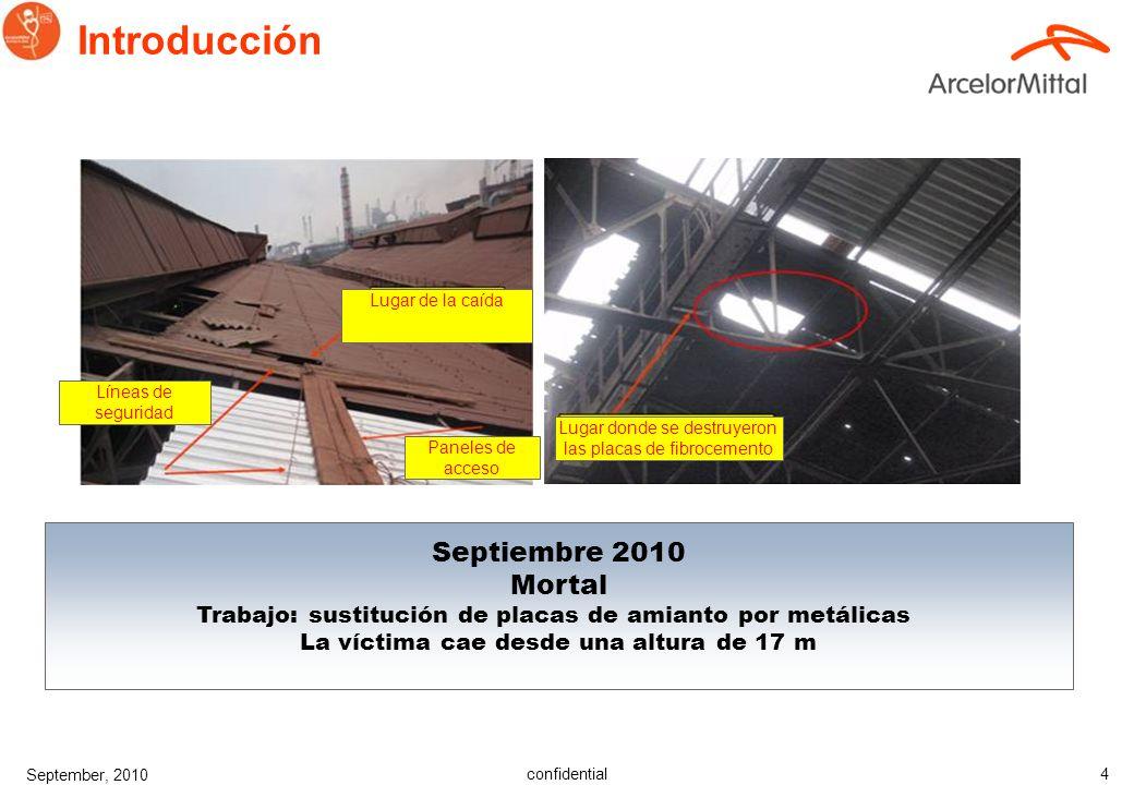 confidential September, 2010 3 Mayo 2010 Mortal Trabajo: instalar una bomba de achique adicional sobre el tejado de hormig ó n de la estaci ó n de bom