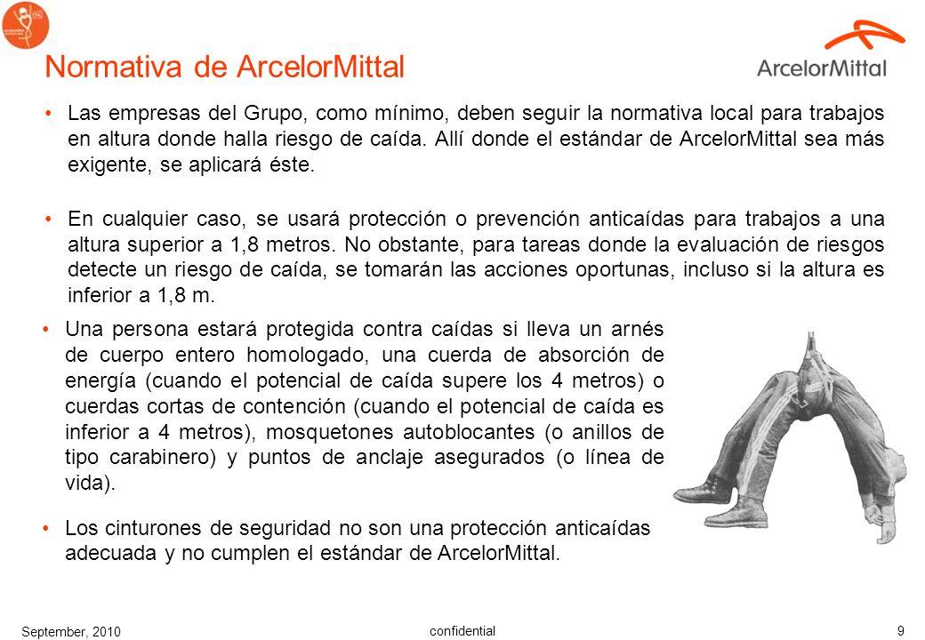 confidential September, 2010 9 Normativa de ArcelorMittal Las empresas del Grupo, como mínimo, deben seguir la normativa local para trabajos en altura donde halla riesgo de caída.