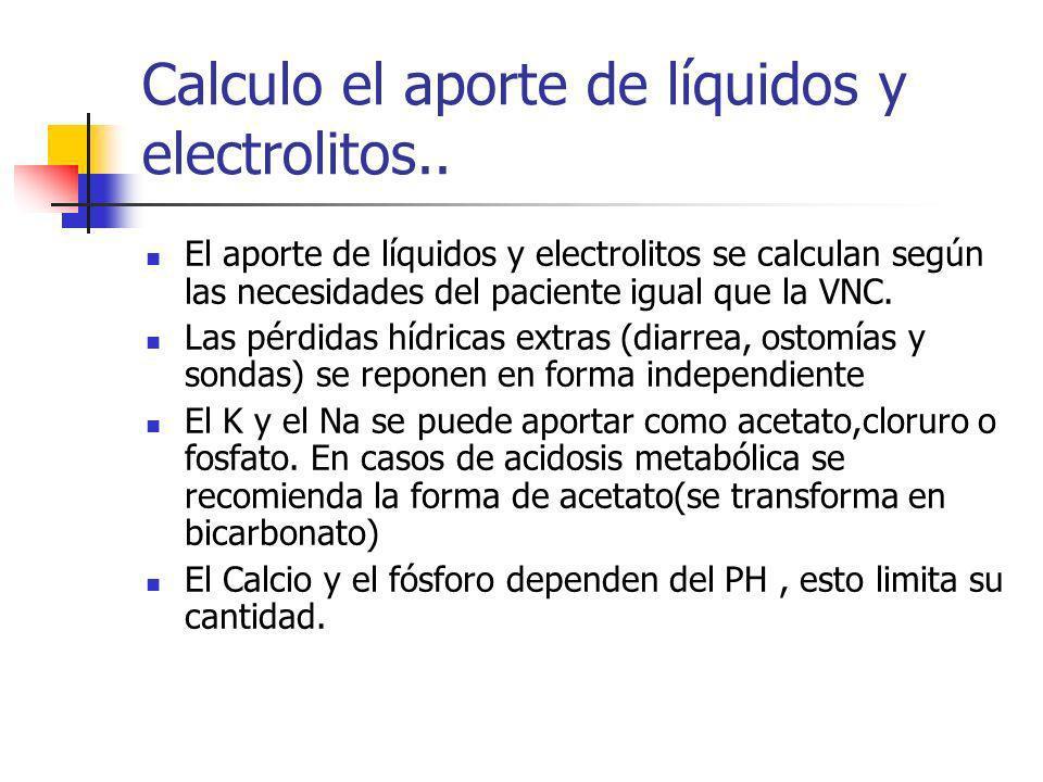 Calculo el aporte de líquidos y electrolitos.. El aporte de líquidos y electrolitos se calculan según las necesidades del paciente igual que la VNC. L