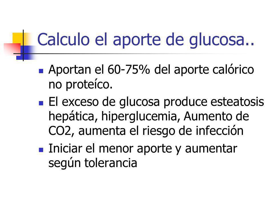 Calculo el aporte de glucosa.. Aportan el 60-75% del aporte calórico no proteíco. El exceso de glucosa produce esteatosis hepática, hiperglucemia, Aum