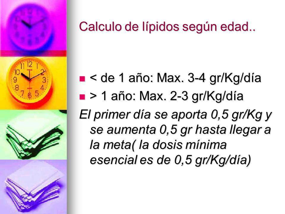 Calculo de lípidos según edad.. < de 1 año: Max. 3-4 gr/Kg/día < de 1 año: Max. 3-4 gr/Kg/día > 1 año: Max. 2-3 gr/Kg/día > 1 año: Max. 2-3 gr/Kg/día
