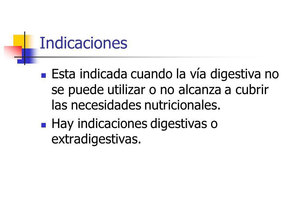 Indicaciones Esta indicada cuando la vía digestiva no se puede utilizar o no alcanza a cubrir las necesidades nutricionales. Hay indicaciones digestiv