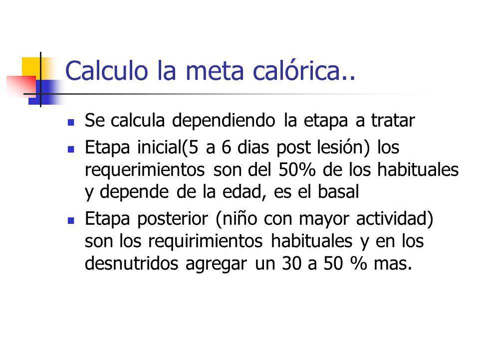 Calculo la meta calórica.. Se calcula dependiendo la etapa a tratar Etapa inicial(5 a 6 dias post lesión) los requerimientos son del 50% de los habitu