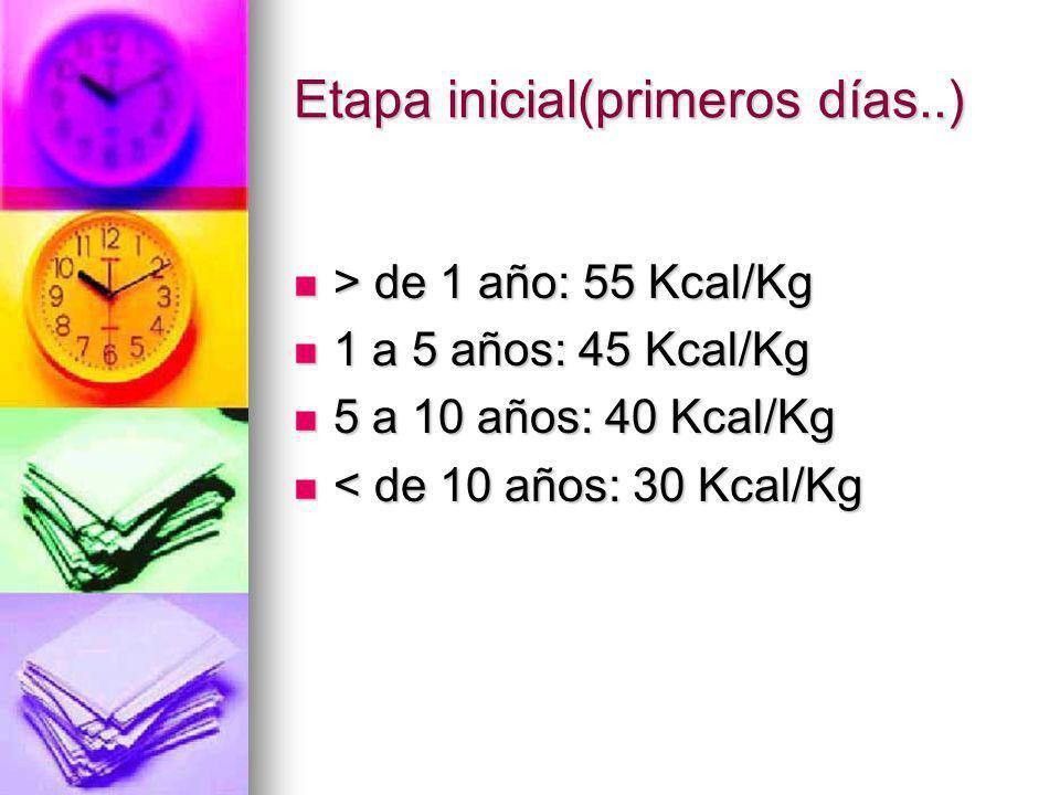 Etapa inicial(primeros días..) > de 1 año: 55 Kcal/Kg > de 1 año: 55 Kcal/Kg 1 a 5 años: 45 Kcal/Kg 1 a 5 años: 45 Kcal/Kg 5 a 10 años: 40 Kcal/Kg 5 a