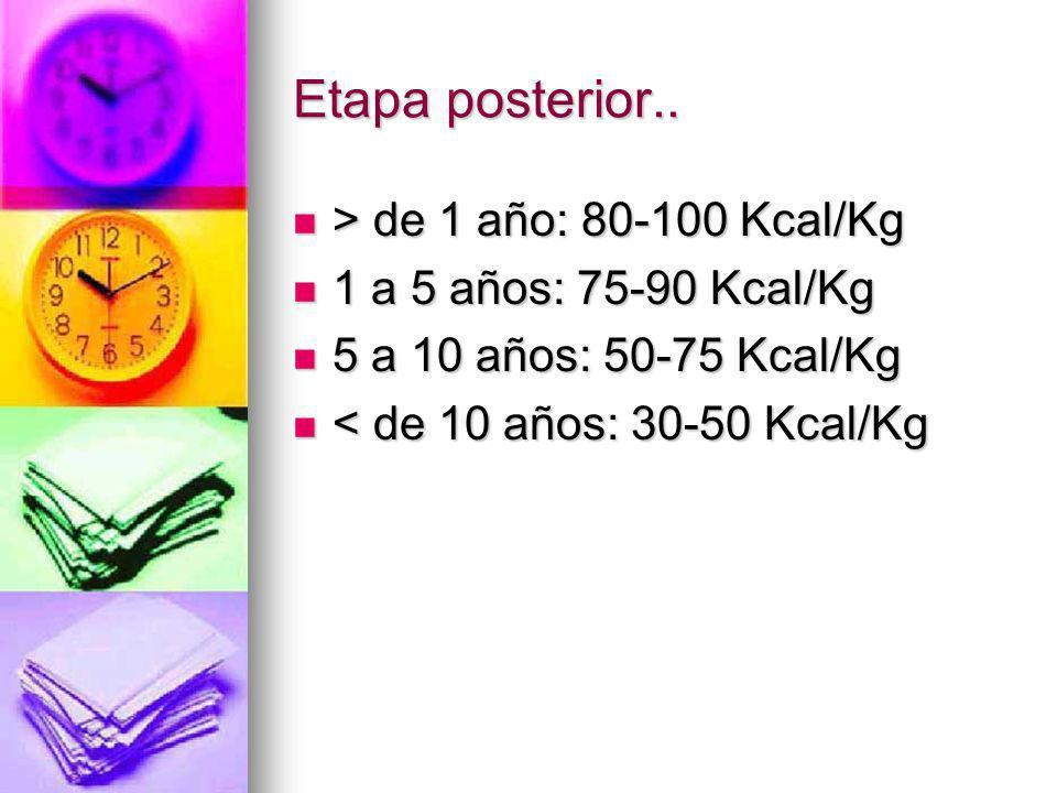 Etapa posterior.. > de 1 año: 80-100 Kcal/Kg > de 1 año: 80-100 Kcal/Kg 1 a 5 años: 75-90 Kcal/Kg 1 a 5 años: 75-90 Kcal/Kg 5 a 10 años: 50-75 Kcal/Kg