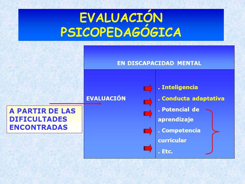 EVALUACIÓN PSICOPEDAGÓGICA EN DISCAPACIDAD MENTAL EVALUACIÓN. Inteligencia. Conducta adaptativa. Potencial de aprendizaje. Competencia curricular. Etc