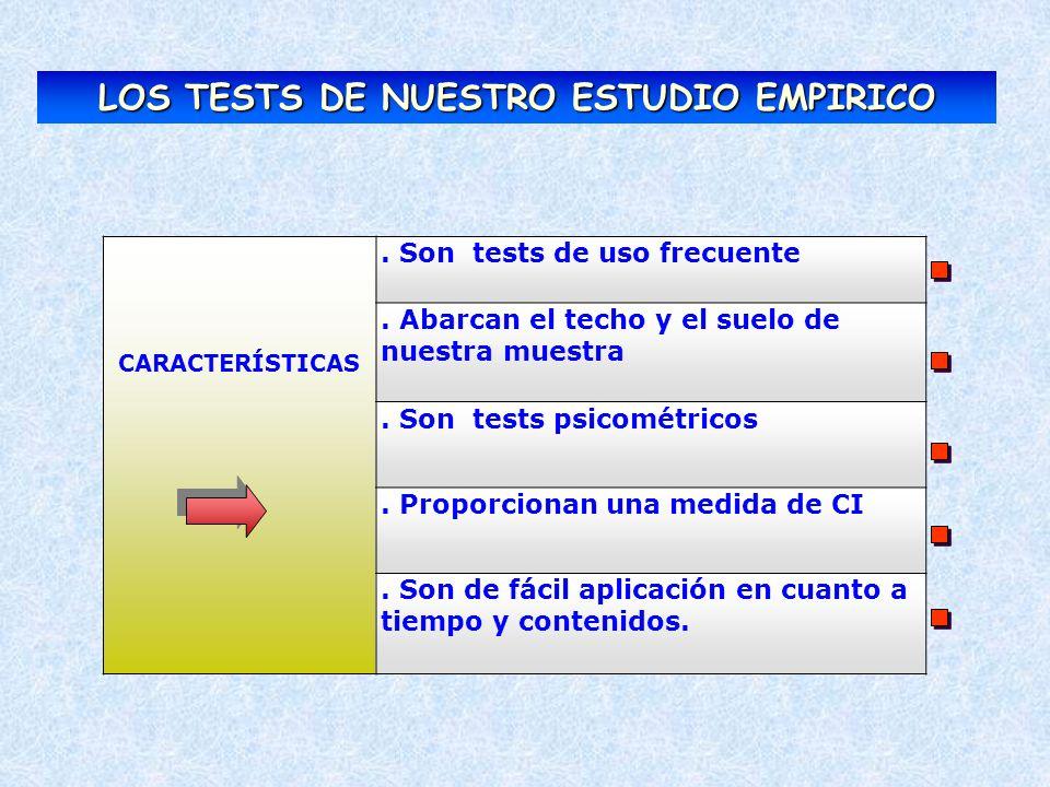 CARACTERÍSTICAS. Son tests de uso frecuente. Abarcan el techo y el suelo de nuestra muestra. Son tests psicométricos. Proporcionan una medida de CI. S