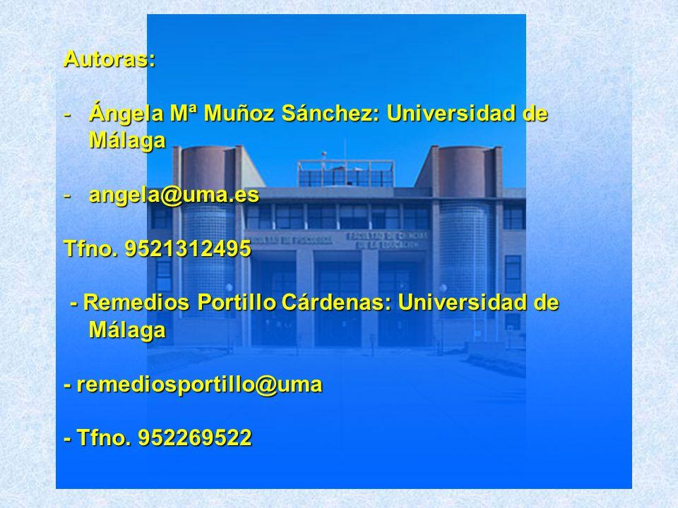 Autoras: -Ángela Mª Muñoz Sánchez: Universidad de Málaga -angela@uma.es Tfno. 9521312495 - Remedios Portillo Cárdenas: Universidad de Málaga - Remedio