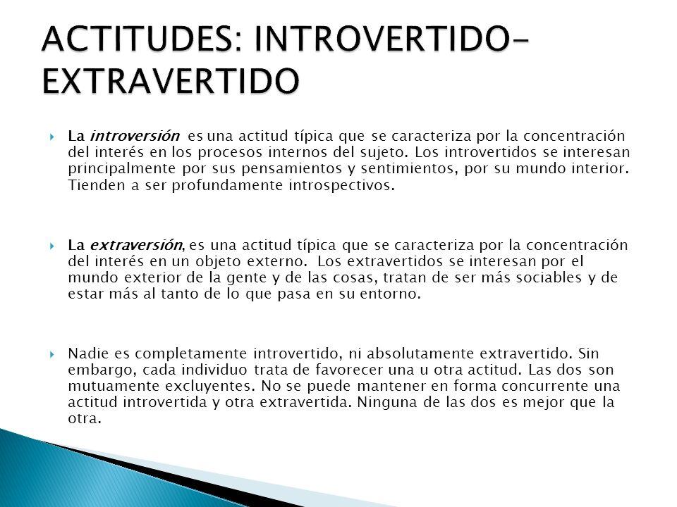 La introversión es una actitud típica que se caracteriza por la concentración del interés en los procesos internos del sujeto. Los introvertidos se in