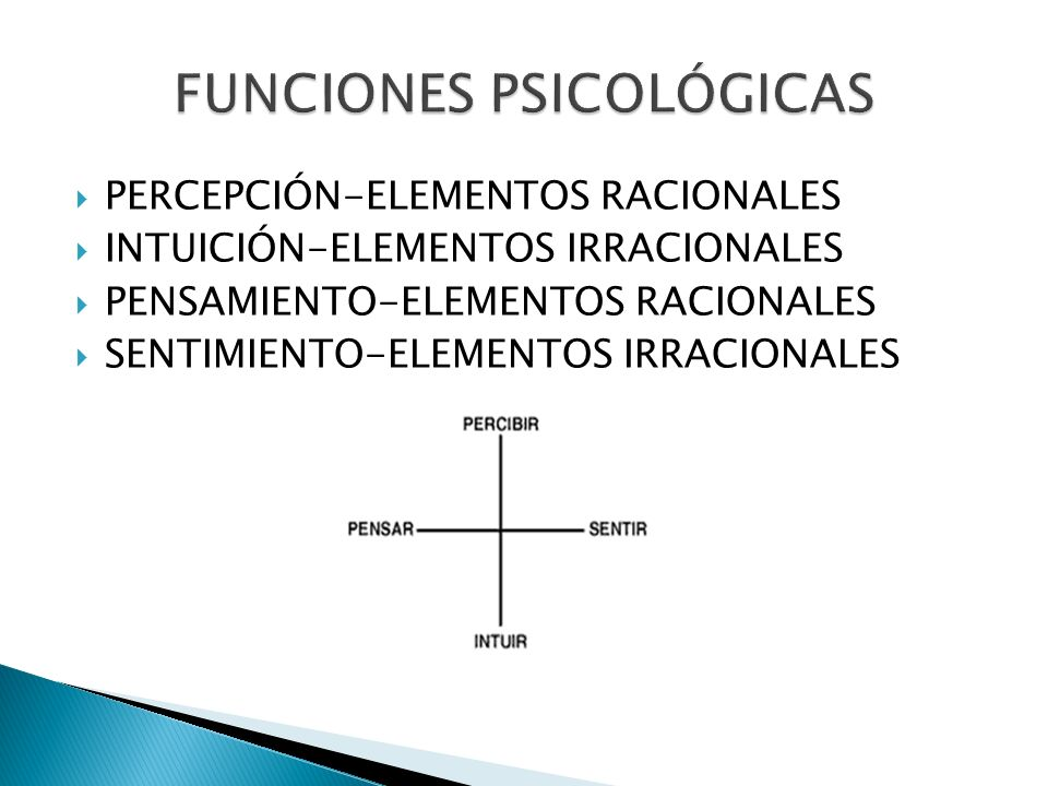 PERCEPCIÓN-ELEMENTOS RACIONALES INTUICIÓN-ELEMENTOS IRRACIONALES PENSAMIENTO-ELEMENTOS RACIONALES SENTIMIENTO-ELEMENTOS IRRACIONALES