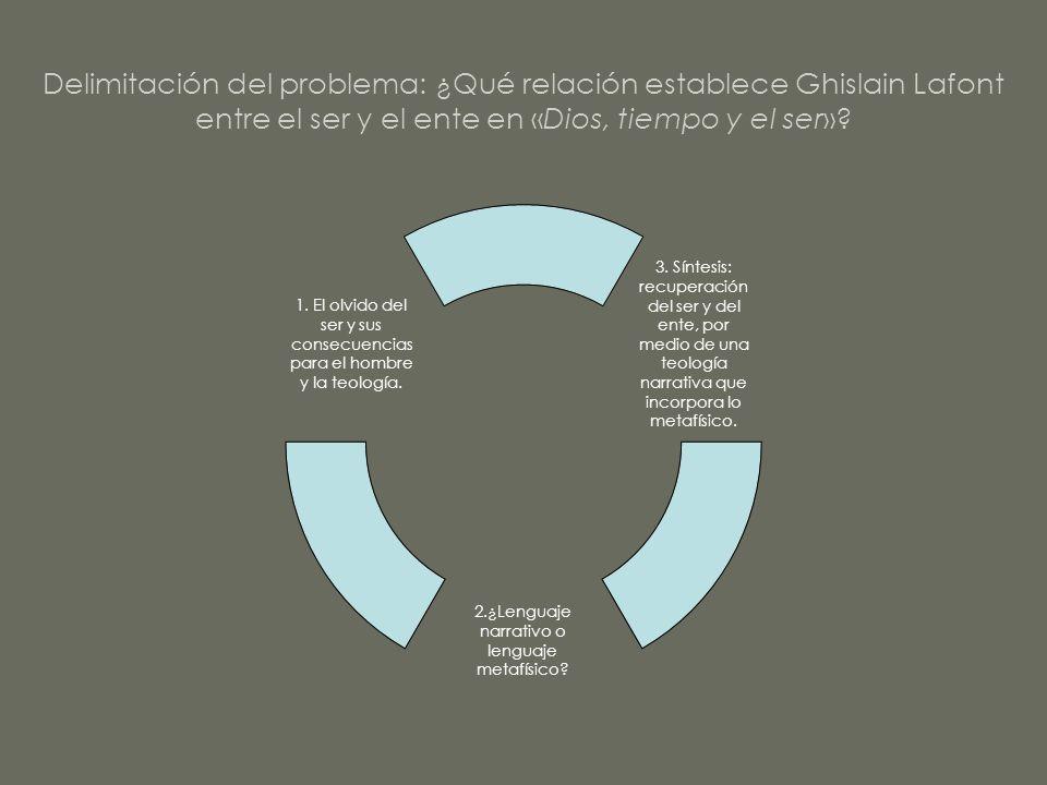 Delimitación del problema: ¿Qué relación establece Ghislain Lafont entre el ser y el ente en «Dios, tiempo y el ser»? 1. El olvido del ser y sus conse