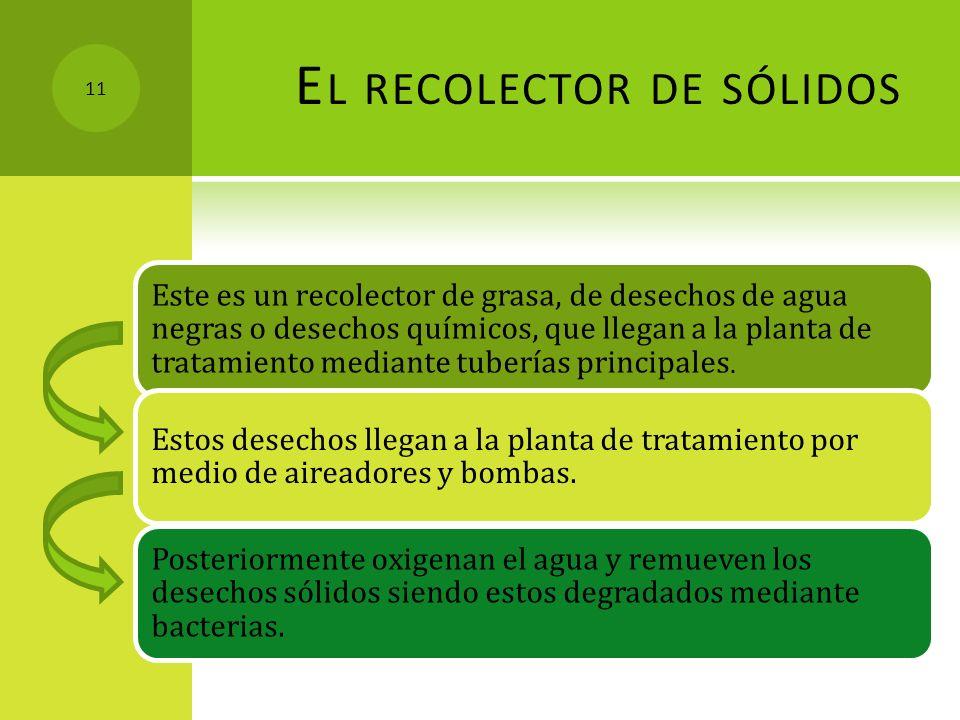 E L RECOLECTOR DE SÓLIDOS Este es un recolector de grasa, de desechos de agua negras o desechos químicos, que llegan a la planta de tratamiento median