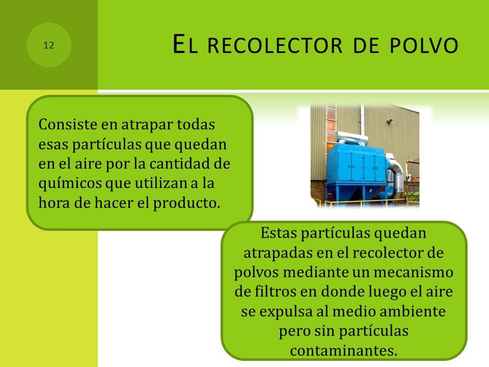 E L RECOLECTOR DE POLVO Consiste en atrapar todas esas partículas que quedan en el aire por la cantidad de químicos que utilizan a la hora de hacer el