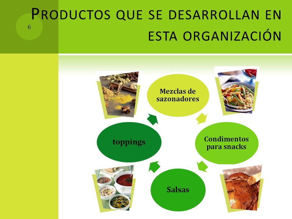 P RODUCTOS QUE SE DESARROLLAN EN ESTA ORGANIZACIÓN Mezclas de sazonadores Condimentos para snacks Salsas toppings 6