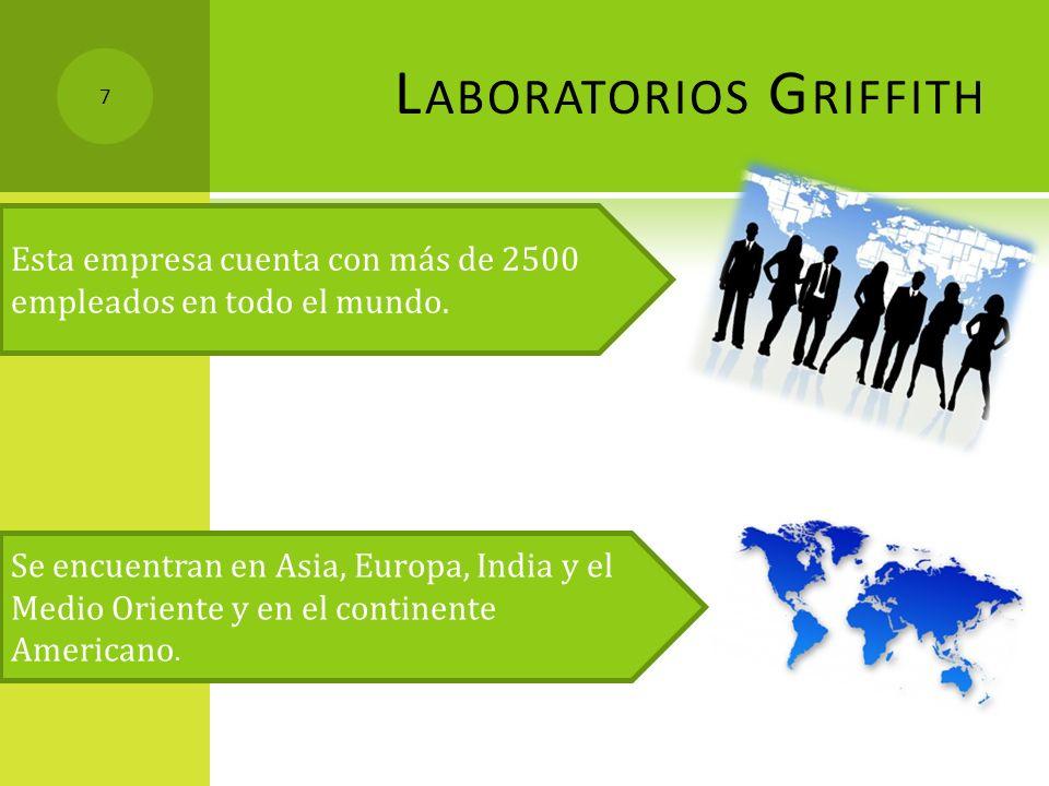 L ABORATORIOS G RIFFITH Esta empresa cuenta con más de 2500 empleados en todo el mundo. Se encuentran en Asia, Europa, India y el Medio Oriente y en e