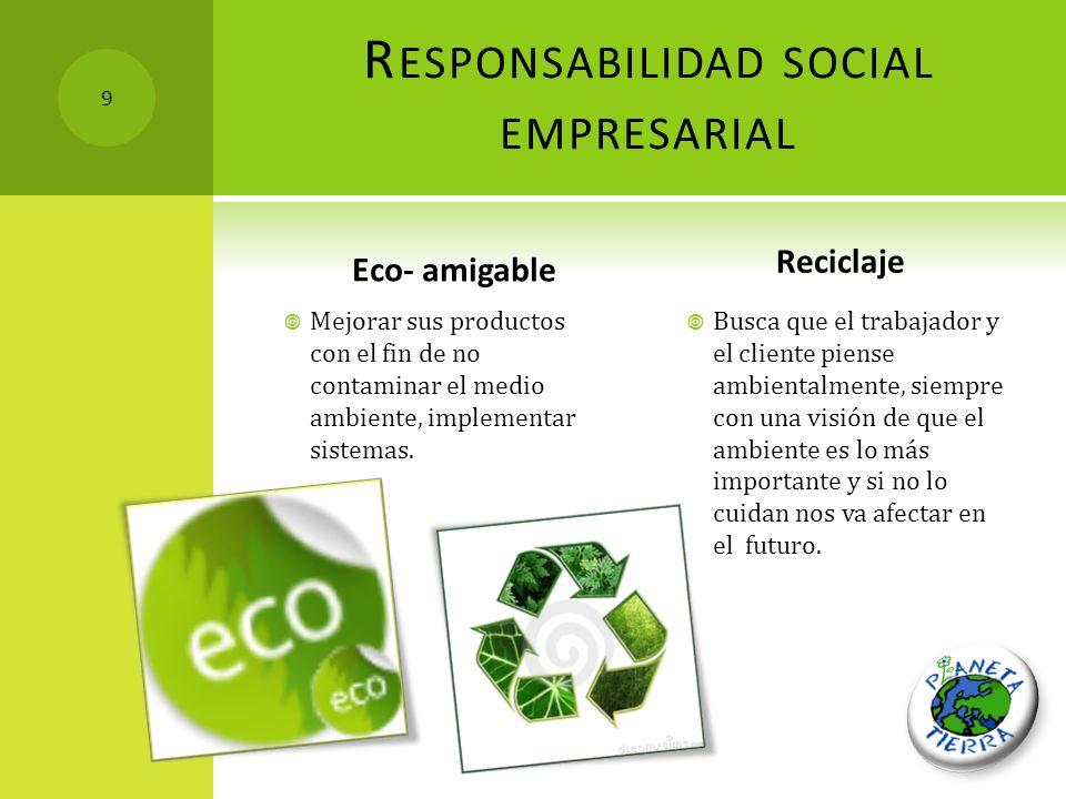 R ESPONSABILIDAD SOCIAL EMPRESARIAL Eco- amigable Mejorar sus productos con el fin de no contaminar el medio ambiente, implementar sistemas. Reciclaje