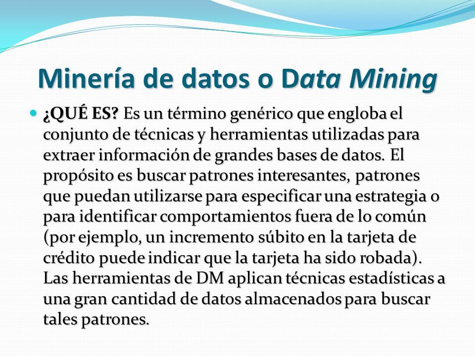 Minería de datos o Data Mining ¿QUÉ ES? Es un término genérico que engloba el conjunto de técnicas y herramientas utilizadas para extraer información
