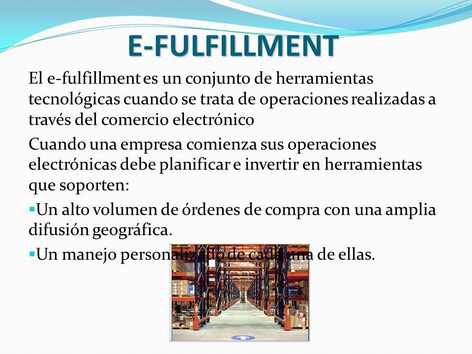 E-FULFILLMENT El e-fulfillment es un conjunto de herramientas tecnológicas cuando se trata de operaciones realizadas a través del comercio electrónico