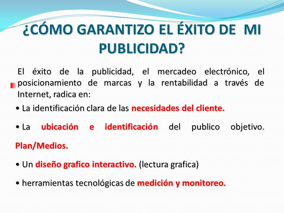El éxito de la publicidad, el mercadeo electrónico, el posicionamiento de marcas y la rentabilidad a través de Internet, radica en: La identificación
