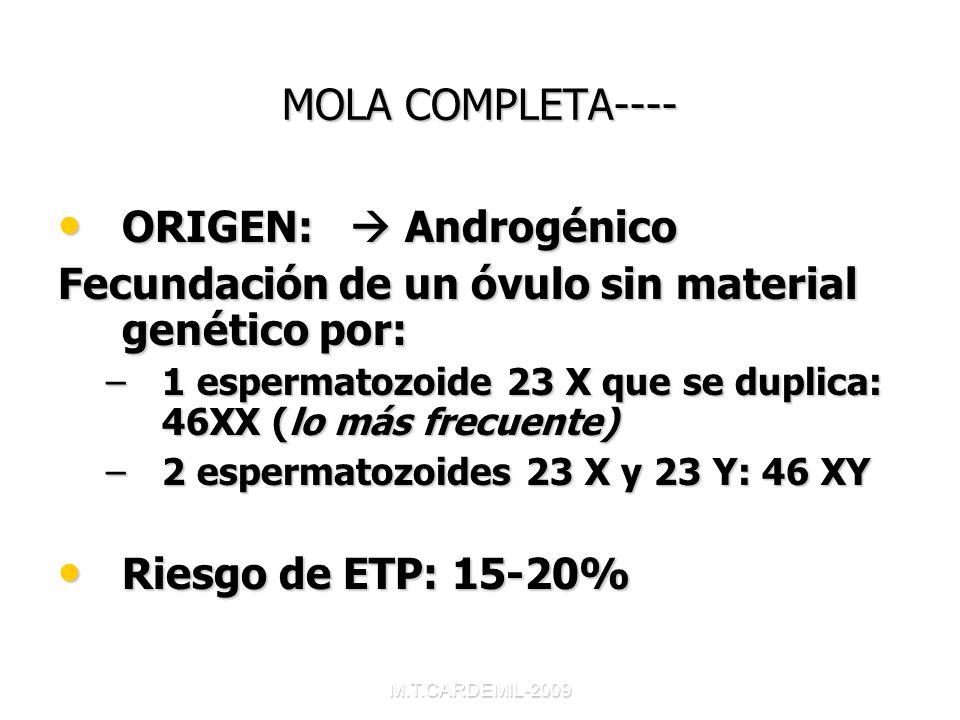 M.T.CARDEMIL-2009 MOLA COMPLETA---- ORIGEN: Androgénico ORIGEN: Androgénico Fecundación de un óvulo sin material genético por: –1 espermatozoide 23 X