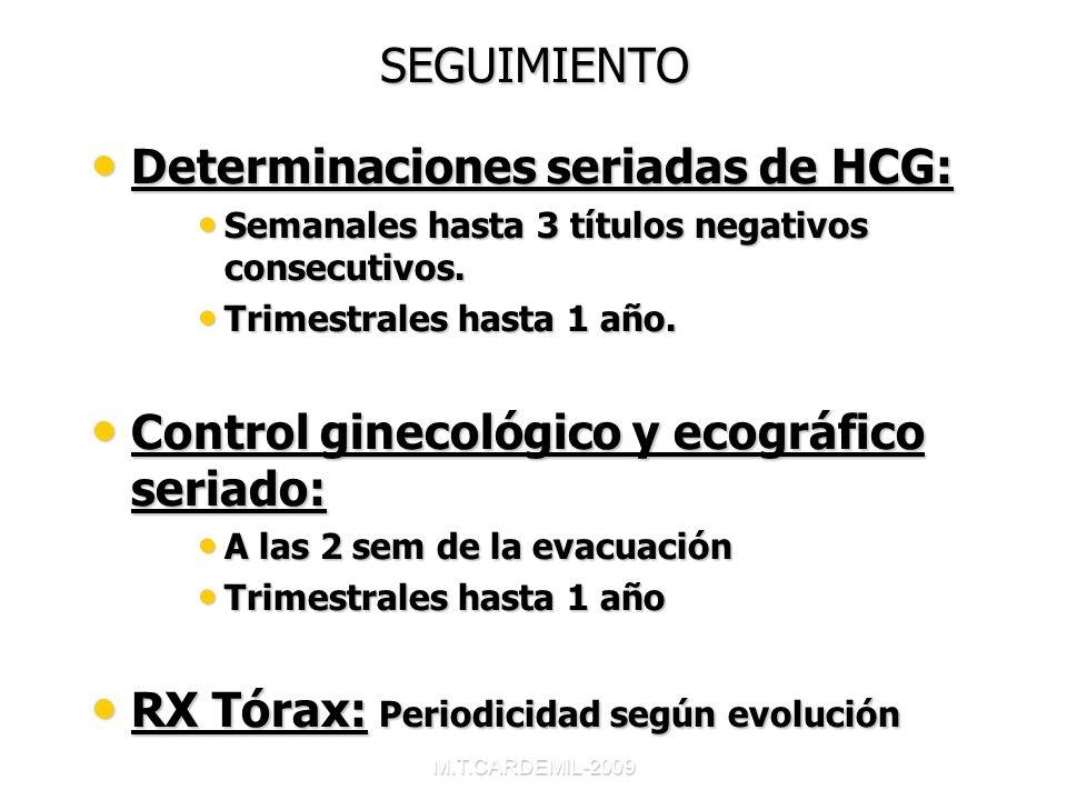 M.T.CARDEMIL-2009 SEGUIMIENTO Determinaciones seriadas de HCG: Determinaciones seriadas de HCG: Semanales hasta 3 títulos negativos consecutivos. Sema