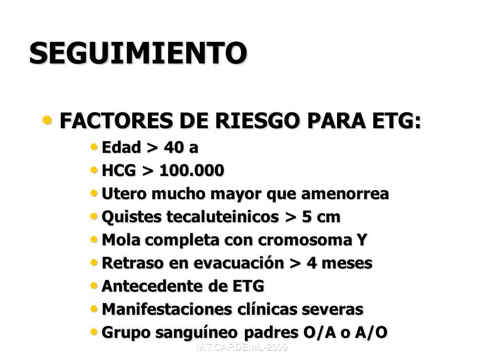 M.T.CARDEMIL-2009 SEGUIMIENTO FACTORES DE RIESGO PARA ETG: FACTORES DE RIESGO PARA ETG: Edad > 40 a Edad > 40 a HCG > 100.000 HCG > 100.000 Utero much