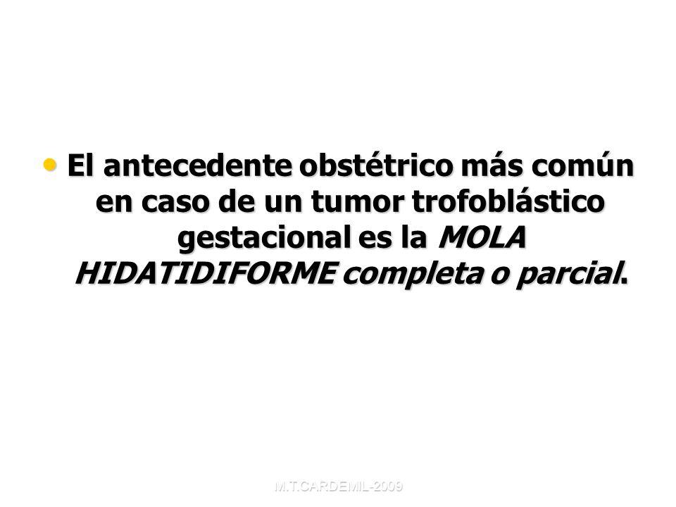 M.T.CARDEMIL-2009 MOLA COMPLETA- Forma más frecuente de presentación Forma más frecuente de presentación Masa multivesicular con ausencia de tejido embrionario y amnios Masa multivesicular con ausencia de tejido embrionario y amnios Degeneración hidrópica y edema del estroma vellositario Degeneración hidrópica y edema del estroma vellositario Hiperplasia trofoblástica difusa Hiperplasia trofoblástica difusa Atipias en sincitio y citotrofoblasto Atipias en sincitio y citotrofoblasto