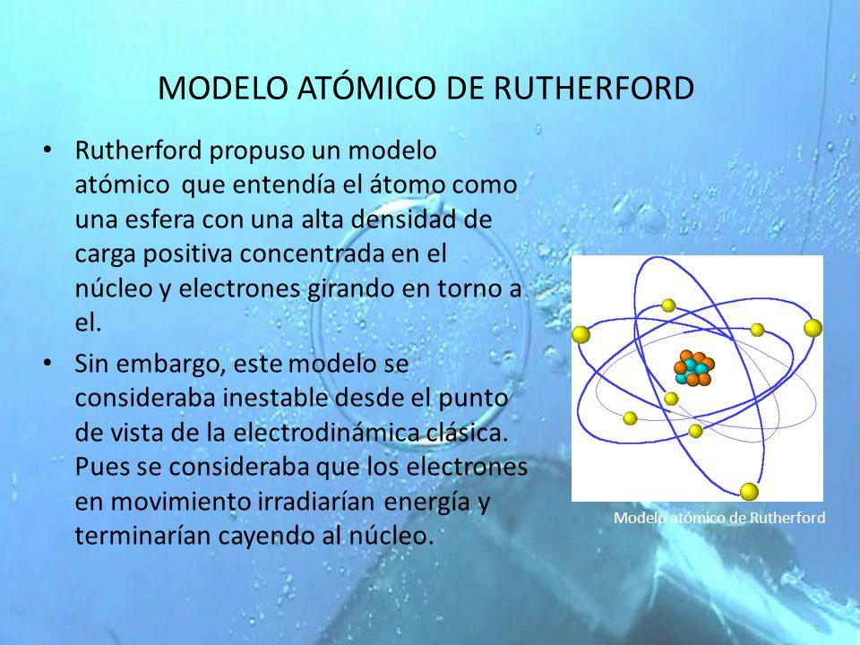 MODELO ATÓMICO DE RUTHERFORD Rutherford propuso un modelo atómico que entendía el átomo como una esfera con una alta densidad de carga positiva concen