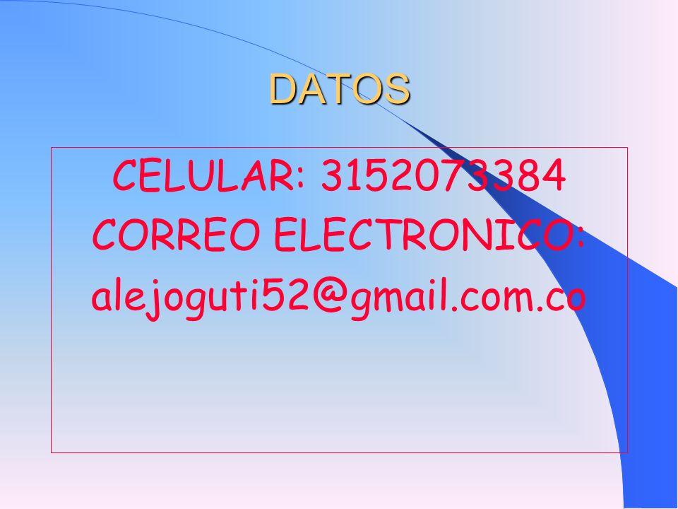 DATOS CELULAR: 3152073384 CORREO ELECTRONICO: alejoguti52@gmail.com.co