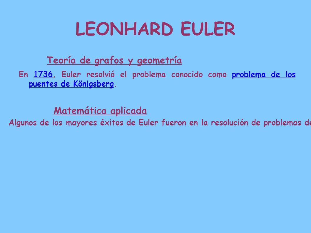 LEONHARD EULER Teoría de grafos y geometría En 1736, Euler resolvió el problema conocido como problema de los puentes de Königsberg.1736problema de lo