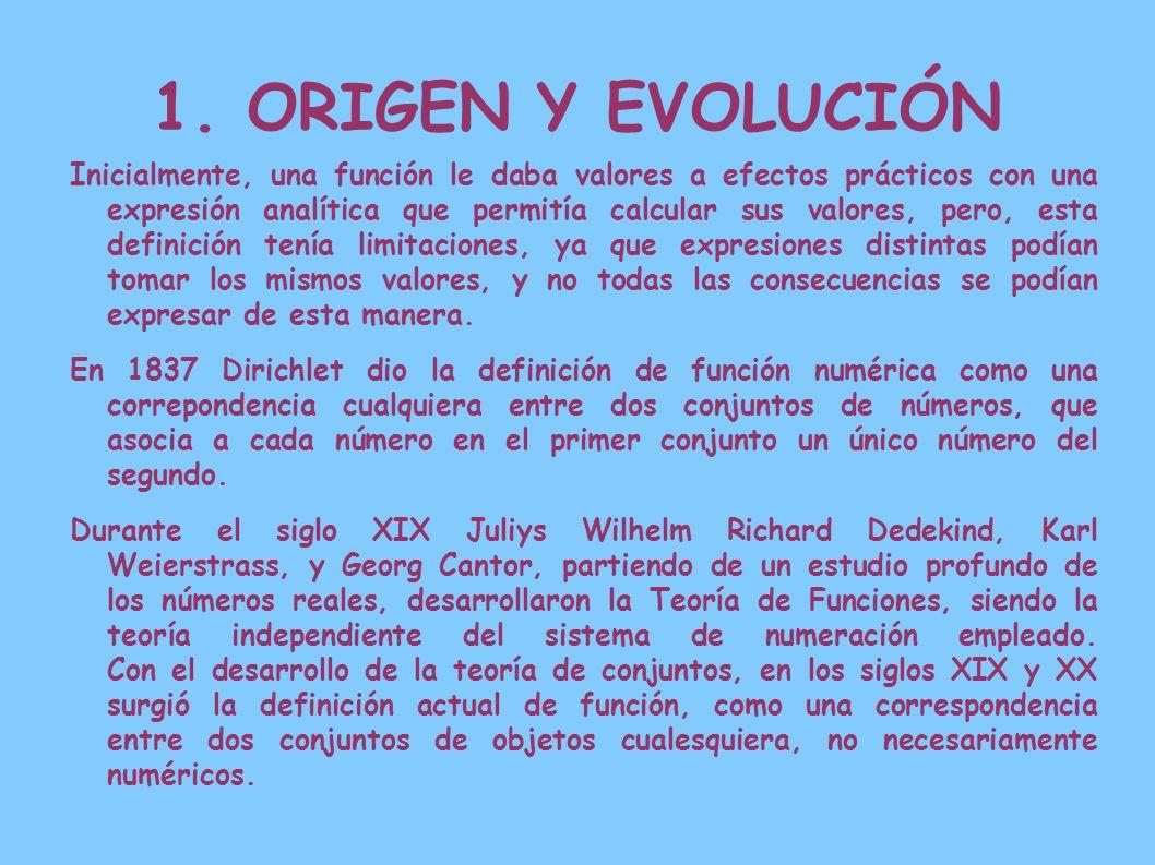 1. ORIGEN Y EVOLUCIÓN Inicialmente, una función le daba valores a efectos prácticos con una expresión analítica que permitía calcular sus valores, per