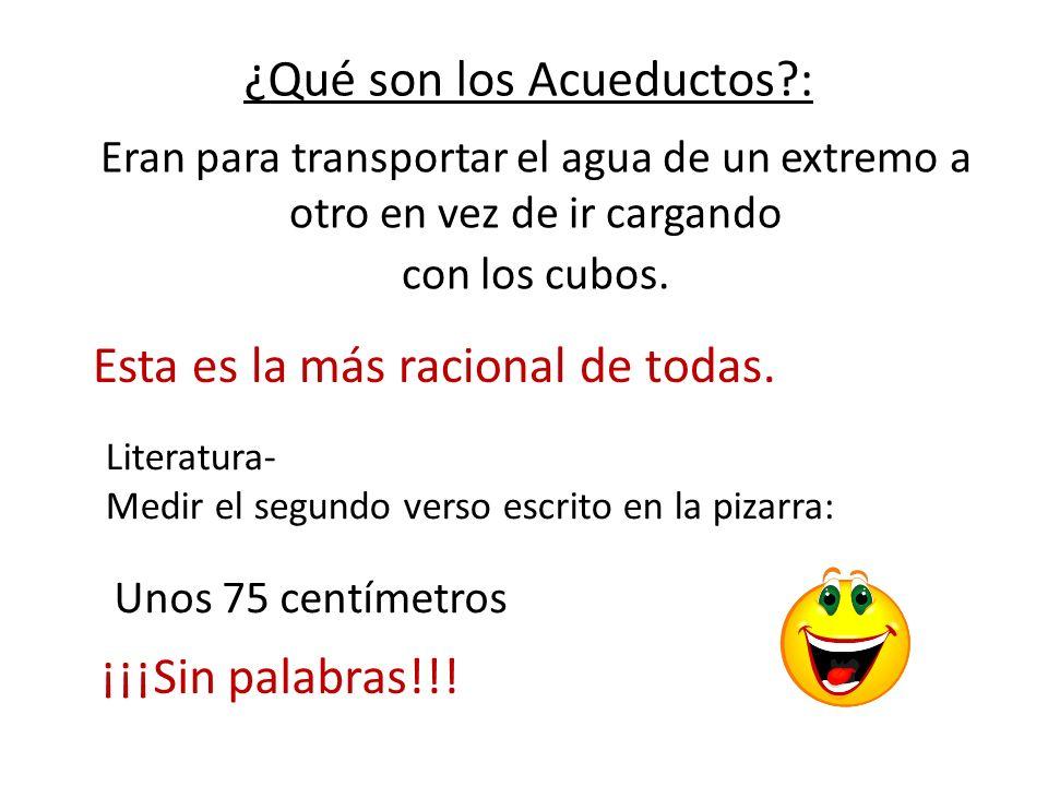 ¿Qué son los Acueductos?: Eran para transportar el agua de un extremo a otro en vez de ir cargando con los cubos. Esta es la más racional de todas. Li