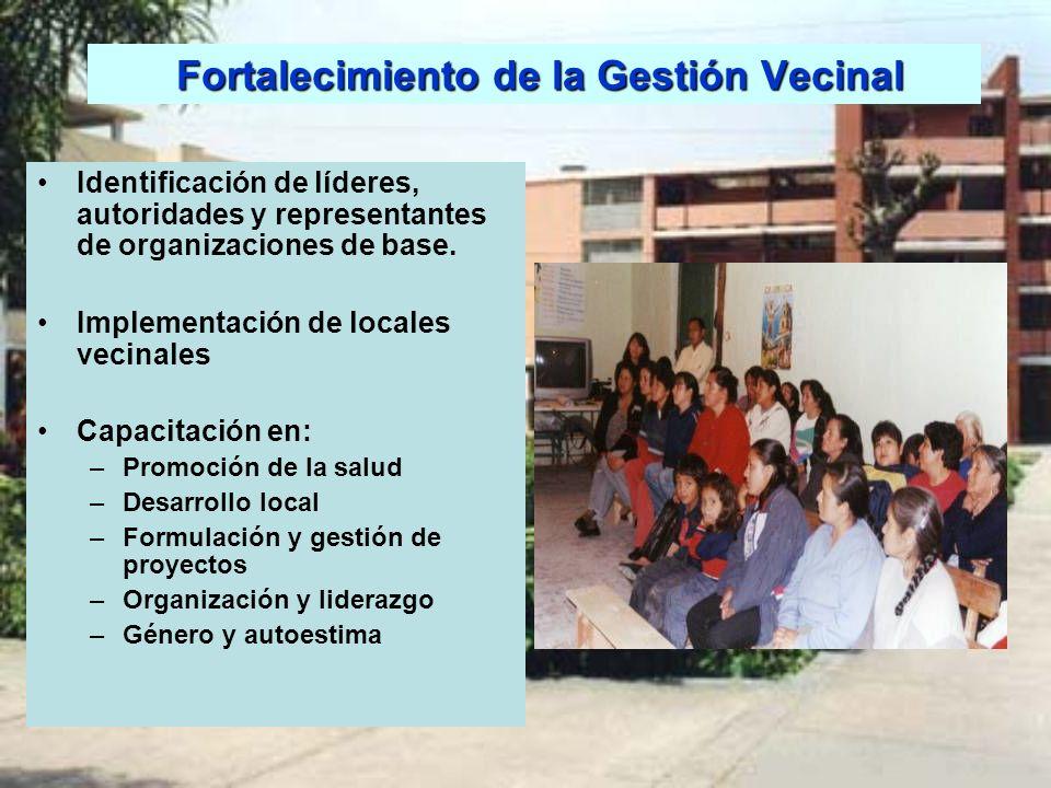 Fortalecimiento de la Gestión Vecinal Fortalecimiento de la Gestión Vecinal Identificación de líderes, autoridades y representantes de organizaciones