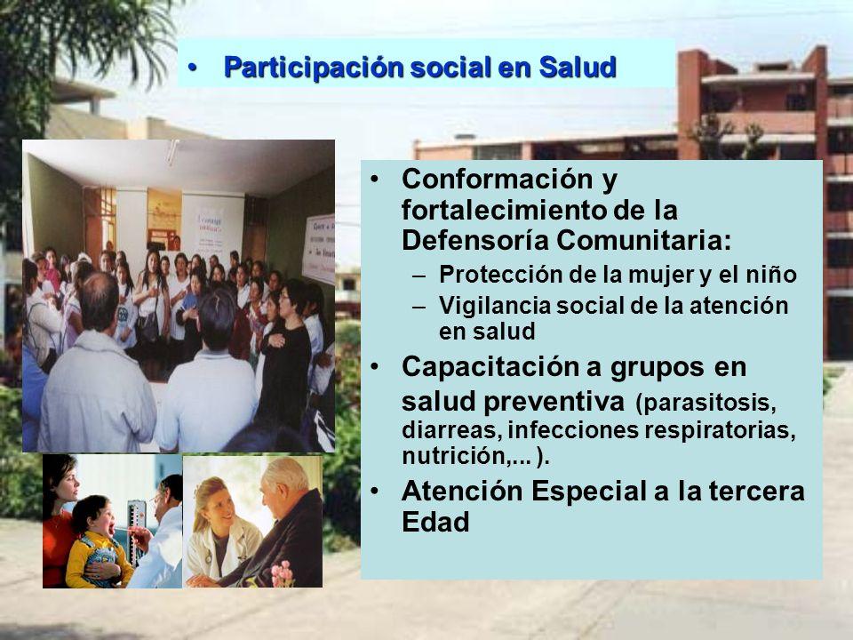 Conformación y fortalecimiento de la Defensoría Comunitaria: –Protección de la mujer y el niño –Vigilancia social de la atención en salud Capacitación
