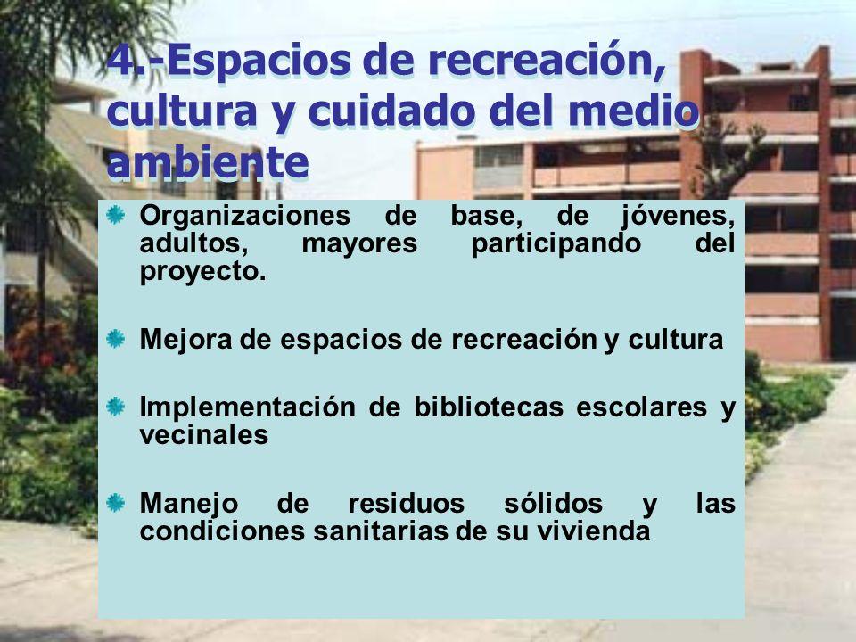 4.-Espacios de recreación, cultura y cuidado del medio ambiente Organizaciones de base, de jóvenes, adultos, mayores participando del proyecto. Mejora